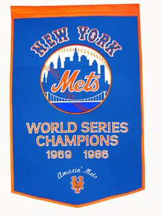 Pay homage to the success of your favorite team with this MLB New York Mets Dynasty Banner. Crafted from a wool blend, this banner is the perfect addition to any sports room or sports memorabilia collection. New York Mets Baseball, Mlb Mets, Lets Go Mets, Mlb Merchandise, Shea Stadium, New York Jets, World Series, Baseball Players, Football