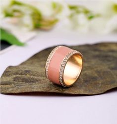 Simple Alloy Ring In Burgundy Color  - New In