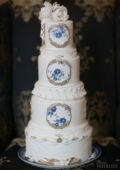WedLuxe – Sweet Regards, This stunning blue+white #cake by Sweet Regards is on our 'adored' list! Many thanks to Melanie Rebane Photography and Oudalova Events & Design for sharing this beautiful photo with us. |  Follow @WedLuxe for more wedding inspiration!