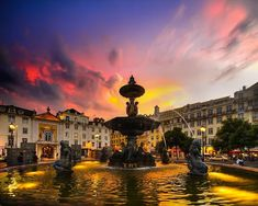 Lisbon at sunset, Portugal Places Around The World, Oh The Places You'll Go, Places To Travel, Places To Visit, Around The Worlds, Travel Destinations, Visit Portugal, Spain And Portugal, Portugal Travel