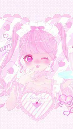 Kawaii Anime Girl, Anime Girl Pink, Anime Girl Cute, Anime Love, Kawaii Drawings, Colorful Drawings, Disney Drawings, Cute Drawings, Cute Anime Wallpaper