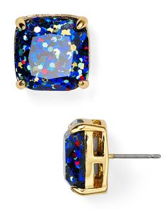 kate spade new york Small Square Glitter Stud Earrings | Bloomingdale's