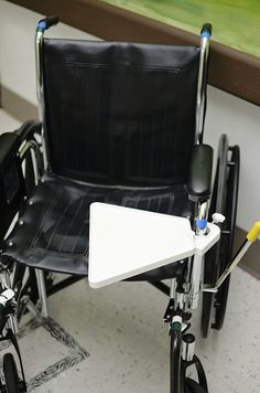 Wheelchair Accessory. Now you have a place for your food, TV remote, keys, cell phone, etc. Swivels to get through doors easily.