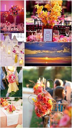 Sunset wedding colors - but much less yellow. Likes the lanterns