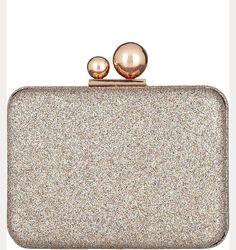 sparkly rose gold clutch bag