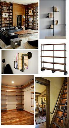 Industrial bookshelf inspiration