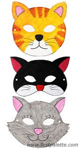 maska kota dla dzieci do wydruku / dzień kota / Cat masks and other free printable animal masks Animal Mask Templates, Printable Animal Masks, Animal Masks For Kids, Mask For Kids, Bear Crafts, Animal Crafts, Kitty Party, Animal Costumes, Cat Costumes