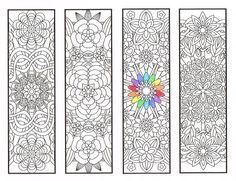 Coloring Bookmarks Flower Mandalas Page 1 van CandyHippie op Etsy