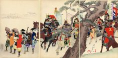 "Japanese Warrior Scene | Tattoo Ideas & Inspiration - Japanese Art | Chikanobu (Triptych) - ""The Approach"", Chiyoda no On-Omote Series, 1898 