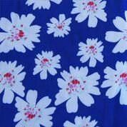 White Waterflowers on Royal Blue Polyester Lycra Jersey Knit Fabric