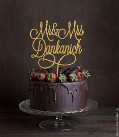 Купить Свадебный топпер на торт с глиттером, инициалами, буквы на торт, 16 см - топпер, торт