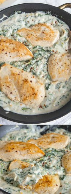 This Spinach and Artichoke Chicken Skillet from Dinners, Dishes, and Desserts is a quick and easy dinner perfect for weeknights. It is delicious served with bread and extra sauce or even over pasta!