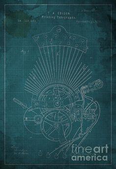 Fine Art Print Edison Blueprint #edison #blueprint #artprint