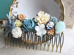 Wedding Hair Comb Dusty Blue Gray Ivory Cream Soft White Fall Winter Bridesmaids Gift Bridal Hair Piece Flower Floral Head Piece by Jewelsalem, $34.00