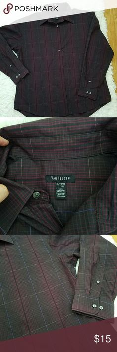 Van Heusen Dress shrit Mens XL Van Heusen purple, black, and gray large plaid or checkered pattern. No stains, rips, or pulls. Has all the buttons. Van Heusen Shirts Dress Shirts
