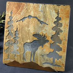 Moose & Mountain Pines Rustic Slate Trivet