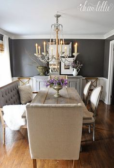 40 Gorgeous French Country Living Room Decor Ideas - Popy Home Table Design, Dining Room Design, Dining Room Table, Dining Area, Dining Decor, Painted Dinning Room Table, Formal Dining Rooms, Mismatched Dining Room, Dark Grey Dining Room