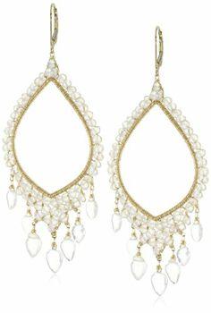 Dana Kellin Large Hand Wire Wrapped Milky and Ice Quartz Chandelier Earrings DANA KELLIN