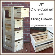 DIY Crate Cabinet with Sliding Drawers My latest DIY project is great for storage. We built a DIY crate cabinet with sliding drawers that can be used in most any room for storage.