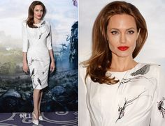 Angelina Jolie In Atelier Versace – 'Maleficent' London Photocall