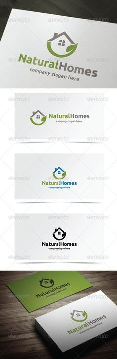 Buy Natural Homes by on GraphicRiver. Eco, Building, Real Estate Logo Template - Vector logo – Resizable for easy editing – AI, EPS files Font Used – Ubunt. Logo Design Template, Logo Templates, Building Logo, Brand Building, Real Estate Logo Design, Natural Homes, Leaf Logo, Logo Restaurant, Symbol Logo
