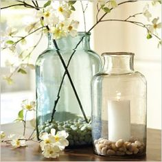 Gorgeous Jars & flowers #design #interior #inspiration {Pottery Barn pickling jars}