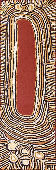 Yuyuya Nampitjinpa - Rockhole of Umari (water dreaming stories) - YN1709009 - 87 x 28 cm http://www.aboriginalsignature.com/art-aborigene-papunya-tula/yuyuya-nampitjinpa-rockhole-of-umari-water-dreaming-stories-yn1709009-87-x-28-cm