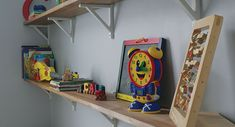 Toys, books and everyday kid essentials pile up quick. We took on the kid chaos by creating fun, open DIY shelves for our son's toddler room. Ikea Ekby, Kid Essentials, Room Shelves, Clutter, Bookcase, Real Estate, Fresh, Fun, Kids