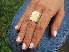 New Woman Fashion Punk Atmospheric Contracted Square Gold Plated Aura Ring Free #newlook #Newfashion