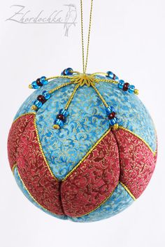 """Items similar to Christmas Ornament - Turquoise and Crimson Trimmed with Gold - 4"""" Kimekomi Ball Decoration on Etsy"""