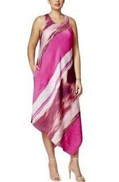 fcfa3925bd34 NWT Rachel Rachel Roy Pink Asymmetric Scarf-Print Casual Dress Size 3X  #fashion #