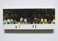 Photo art image of beach huts at Wells-next-the-Sea in north Norfolk, mounted on to hard wood block, finished with a water-resistant, non toxic varnish and fitted on the reverse with a brass plated picture ring ready to hang. Happisburgh Lighthous...