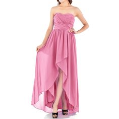 FAYBOX Empire Hi Lo Chiffon Bridesmaid Dresses Ruched Asymentrical Strapless Dress >>> New and awesome product awaits you, Read it now  : Women's dresses