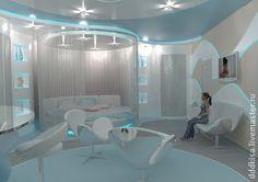 Дизайн интерьера номера Люкс в гостинице - голубой,дизайн,интерьер,дизайн интерьера