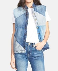4045361_jiletdj_1_ (368x456, 48Kb) Diy Jeans, Denim Fashion, Boho Fashion, Denim Ideas, Denim Crafts, Plaid Tunic, Patchwork Jeans, Sleeveless Jacket, Recycled Denim
