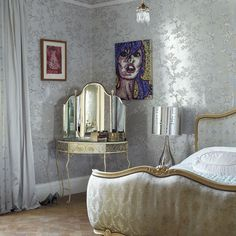 Image detail for -Silver Bedroom Furniture Teenage Girl Bedrooms, Girls Bedroom, Master Bedroom, Silver Room, Silver Walls, Decoration Gris, Bedroom Decorating Tips, Decorating Ideas, Vintage Interior Design
