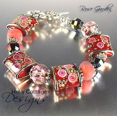 Rose Garden - Red, pink and silver lampwork bead bracelet