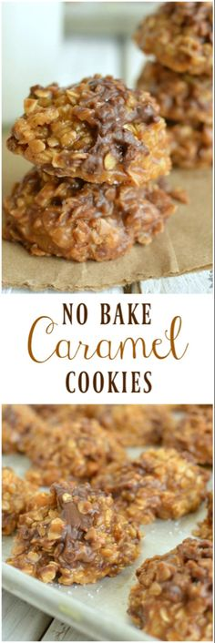 Cookies Smooth buttery caramel, crunchy toffee chips, and a chocolate chips come in a No Bake Caramel Cookie! What's not to love!Smooth buttery caramel, crunchy toffee chips, and a chocolate chips come in a No Bake Caramel Cookie! What's not to love! Cookie Desserts, Just Desserts, Cookie Recipes, Delicious Desserts, Dessert Recipes, Yummy Food, No Bake Cookie Recipe, Cookie Bars, Easter Recipes