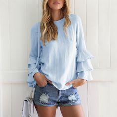 4e07e3aa492 Sexy Fashion Blouses Thin Women Tops Shirts Long Fold Sleeve Women Blouse  Back Button Hollow Out