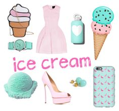 """IceCream"" by lira-sold ❤ liked on Polyvore featuring Casadei, Simone Rocha, Crayo, bkr and icecreamtreats"