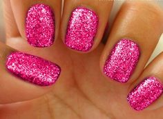 Pink sizzle nails