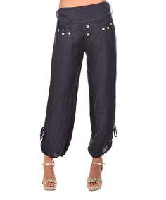 Navy Blue Linen Harem Pants