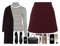 """Stripes & velvet."" by amy-gray0 ❤ liked on Polyvore featuring Topshop, H&M, Zara, MANGO, Giorgio Armani, Clinique, GAB, Urban Decay, Jo Malone and Casetify"