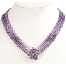 5 Row Shaded Amethyst Necklace With Amethyst Clasp