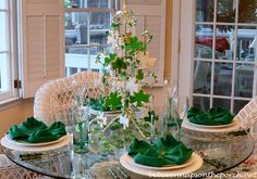 A St. Patrick's Day Table Setting with a Shamrock Cookie Tree Centerpiece and Clover Napkin Fold San Patrick Day, Fete Saint Patrick, Tree Centerpieces, Table Decorations, Table Place Settings, 4 Leaves, Napkin Folding, Table Accessories, Deco Table