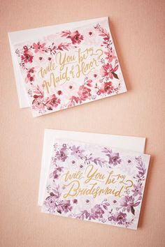 Watercolor Will You Be Bridesmaid Card from BHLDN