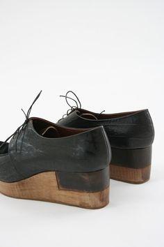 Wooden sole shoes | Rachel Comey Del Salto Black lace-up | Platforms