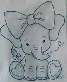 Little Toy Elephant pattern. Photos of the finished elephant is xoxograndma. Art Drawings Sketches Simple, Pencil Art Drawings, Easy Drawings, Easy Animal Drawings, Drawing Drawing, Drawing Ideas, Disney Drawings, Fabric Painting, Disney Art
