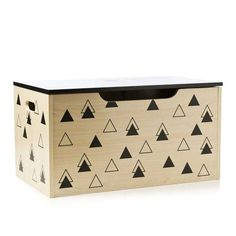 Adairs Kids Timber Toy Box Black Triangles, kids toybox, kids storage box