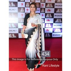 Bollywood Replica-Rani Mukherjee Designer Black & White Beautiful Party Wear Saree-434(SIA-400)